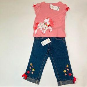 NWT Gymboree Unicorn Tee Shirt & Cuff Jean Set 3T